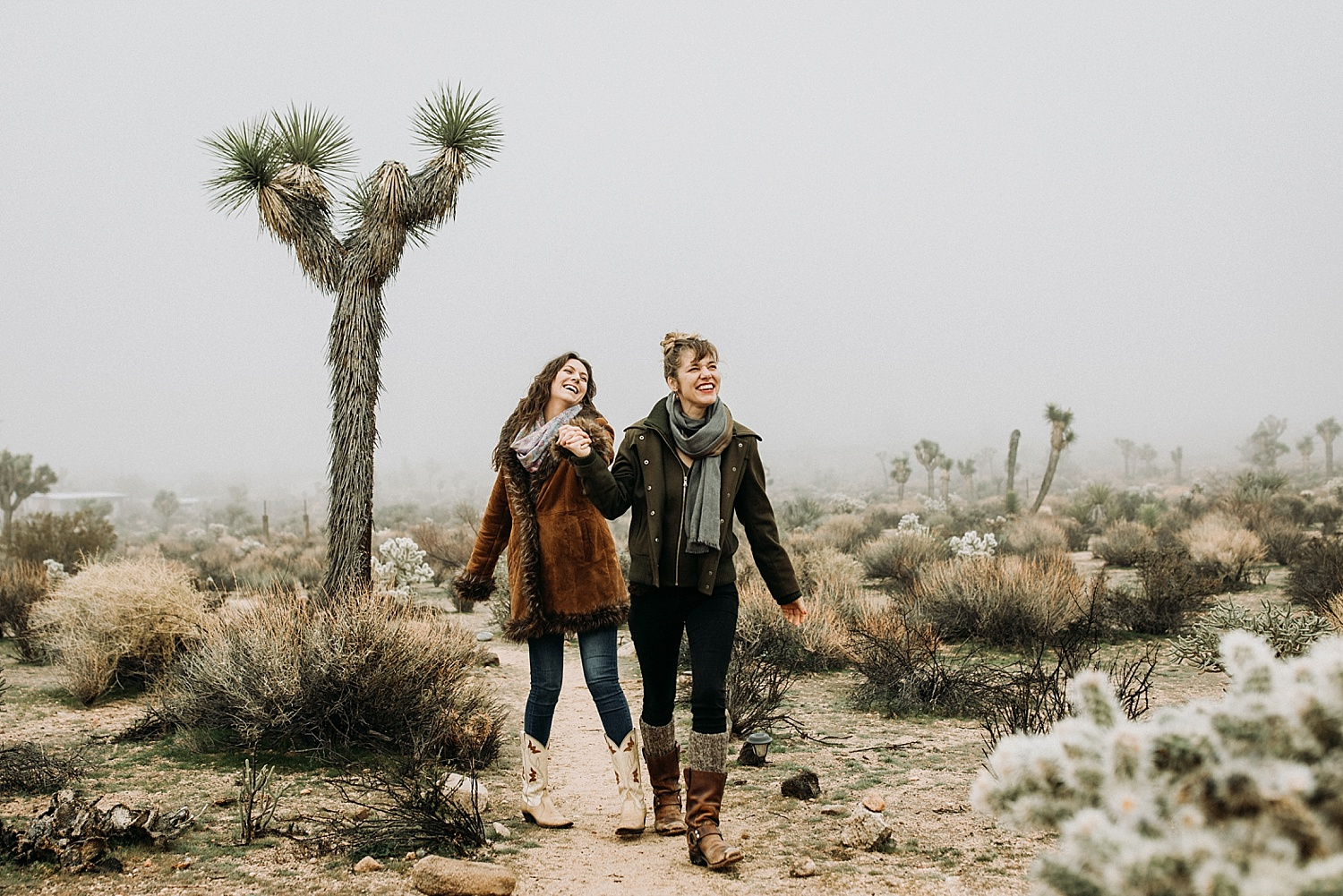 couple holding hands in Joshua Tree, California photography