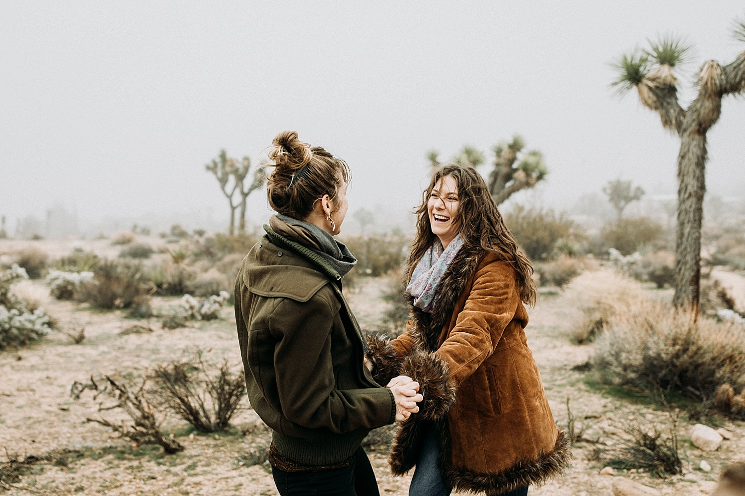 couple laughing in Joshua Tree, California photography