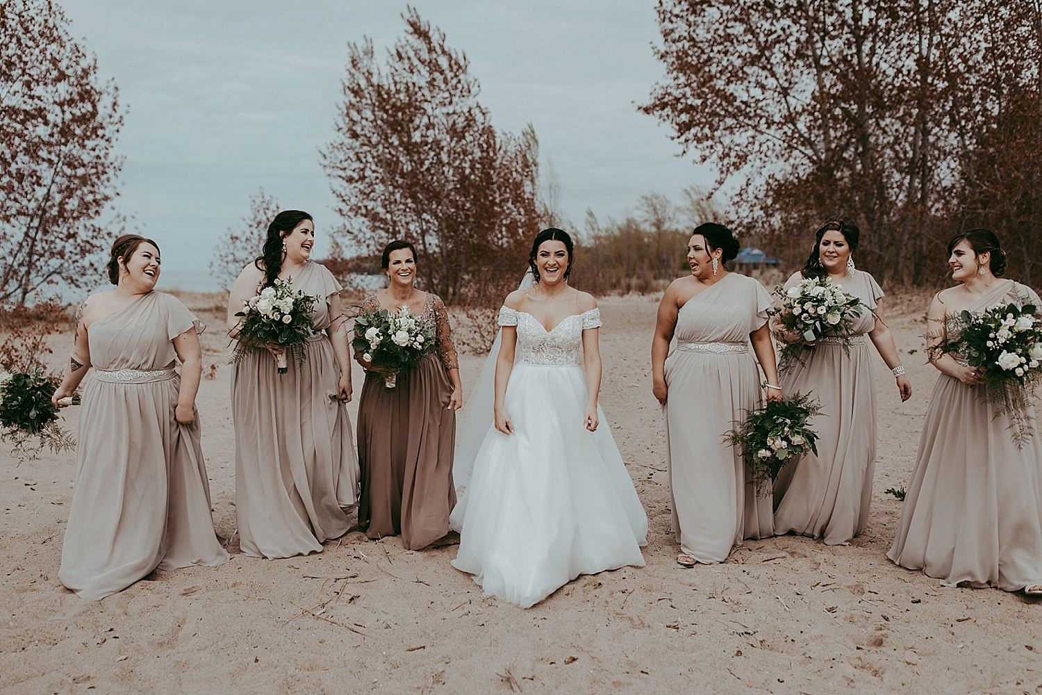 bridesmaids walking on the beach, wedding photography