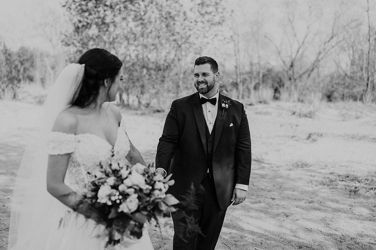 groom looking at the bride, wedding photography