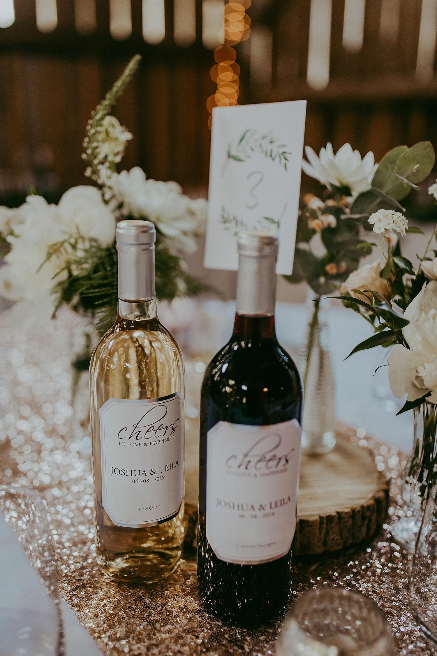 Reception details, wine bottles