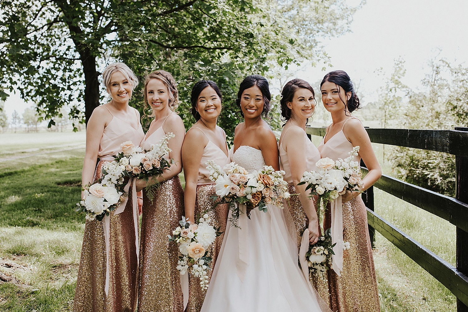 Bridal party smiling