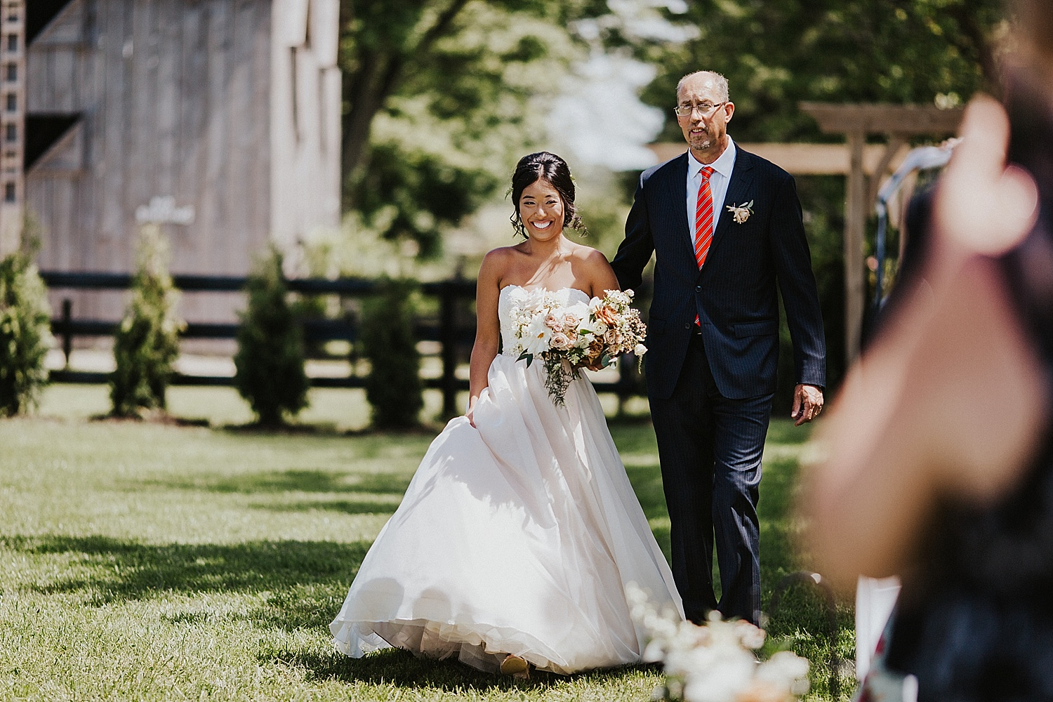 Bride walking down the isle with her father