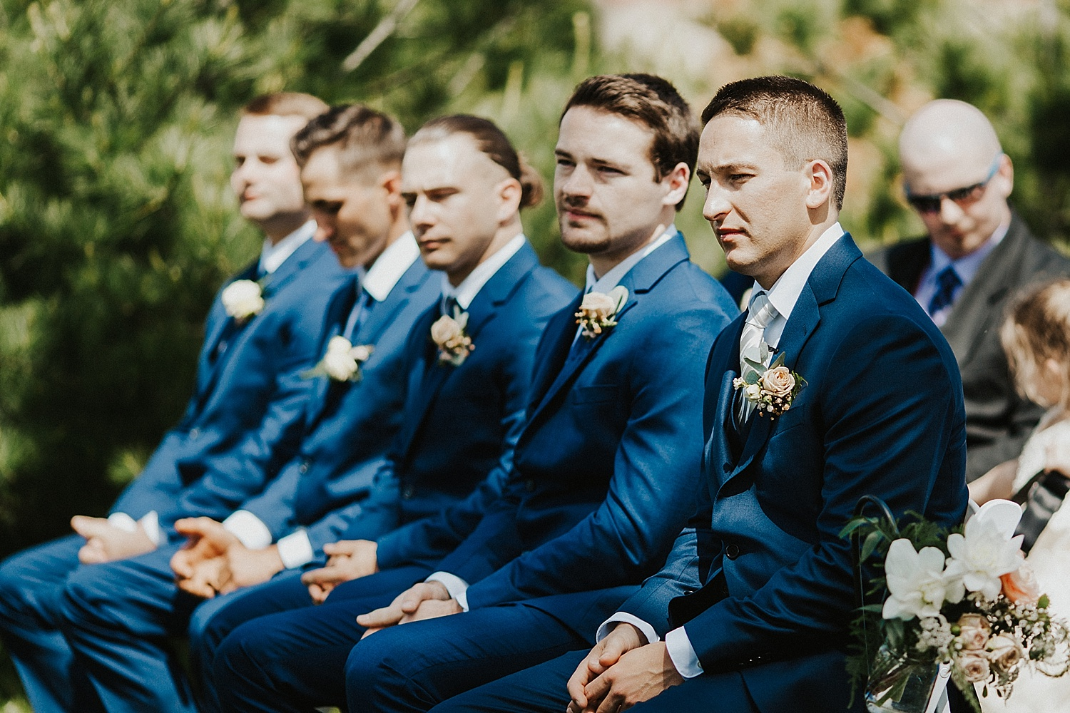 Groom and groomsment during the wedding ceremony