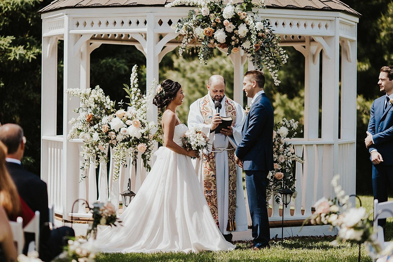 Wedding ceremony, bride and groom