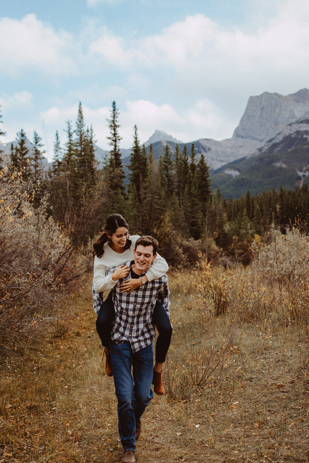 Engagement photography piggy back ride