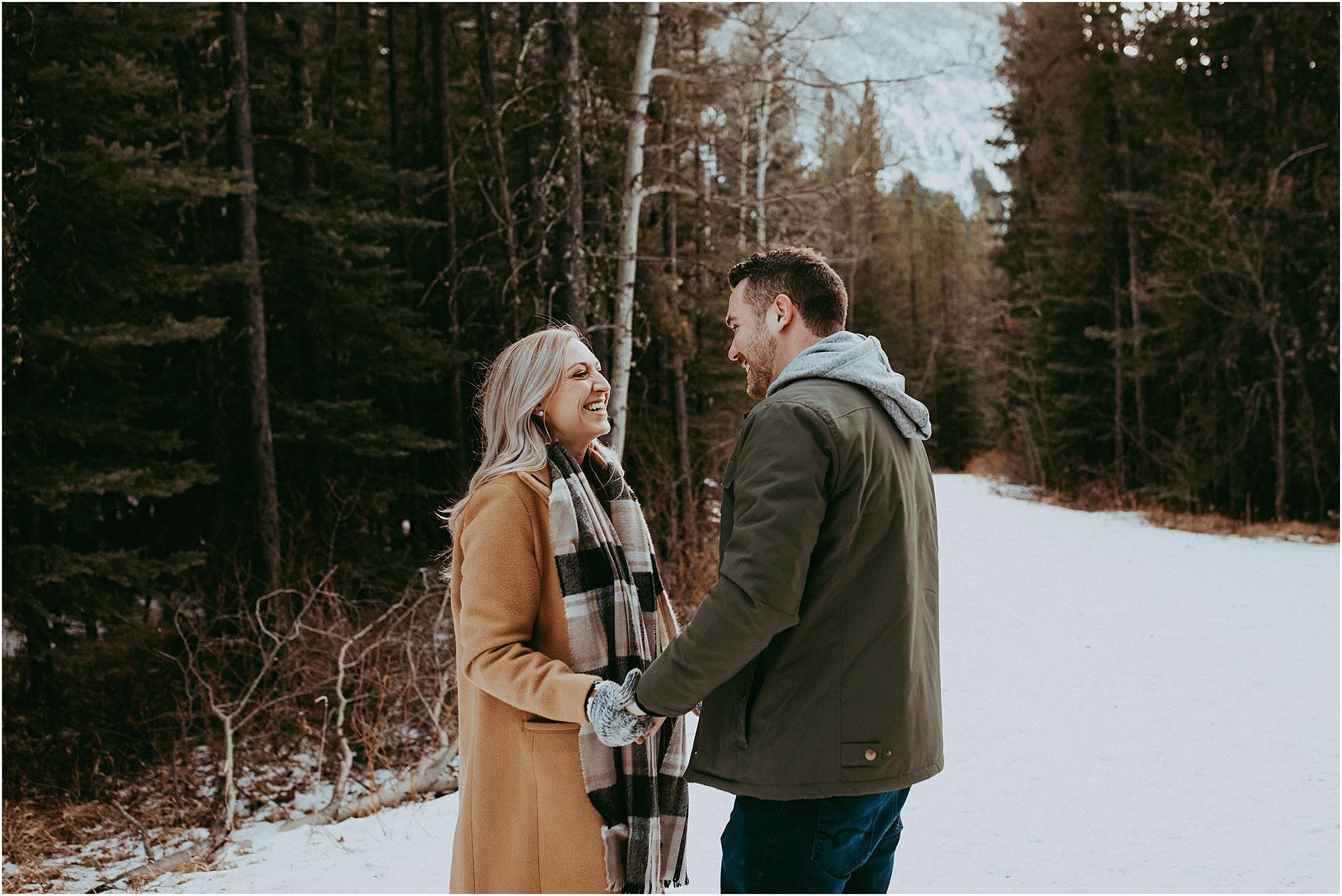 kananaskis winter mountain engagement photography